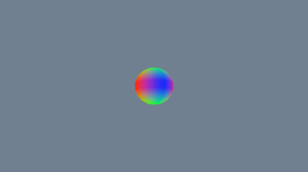 Copied some code for making a sphere and converted it to C for DirectX. The colors are simply set by the (x,y,z) coordinates of each vertex