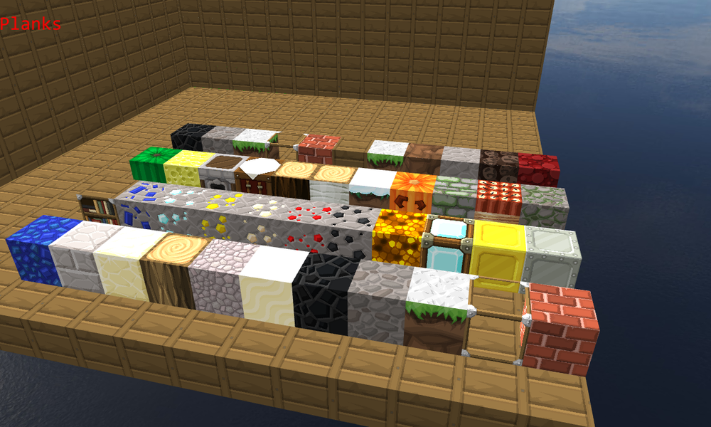 Testing all the different Voxel Types' texture mapping. The textures used here come from Sphax PureBDCraft for minecraft (http://bdcraft.net/)