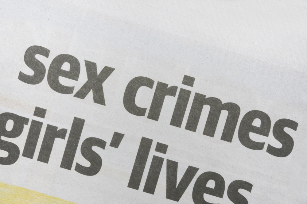 Headline in a news paper about sex crimes and girls' lives.
