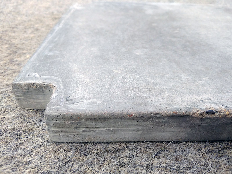 Concrete mix test results – we needed to ensure that the finish and strength would be suitable for sitting.