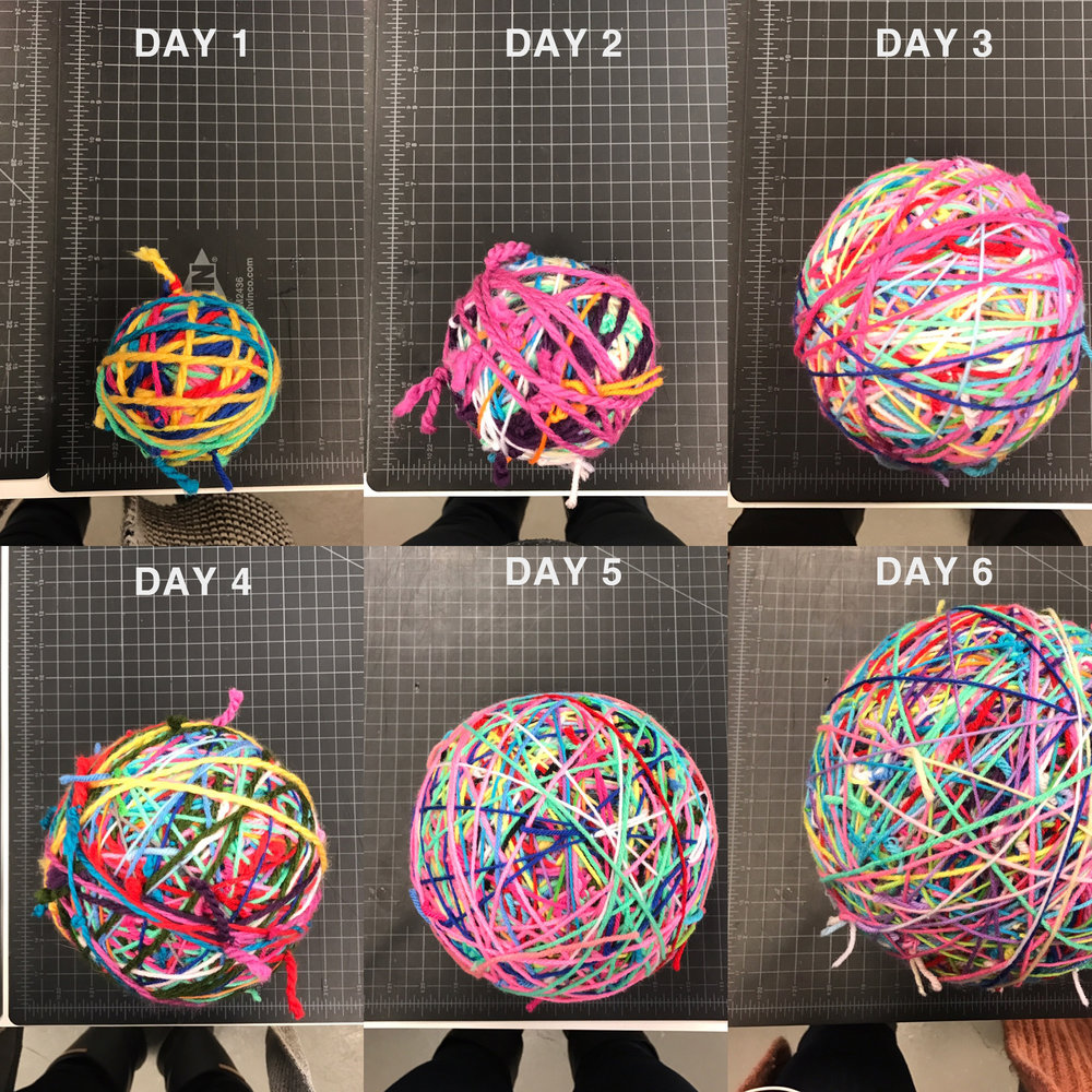 After cleaning up the mess, we set off to create the largest yarn ball we possibly could! Drawing inspiration from the World's Largest Ball of Twine in Cawker City, Kansas, we started tying pieces of yarn together and winding them into a ball. So far, we have a 9 inch yarn ball, and two bags of yarn to go!