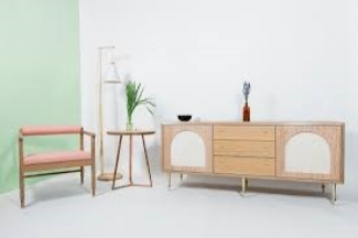Aligning with their philosophy of elegant wood furniture with unexpected details, their new pieces are no different. Each object features a simple, elevated shape with a playful mix of materials and finishes.