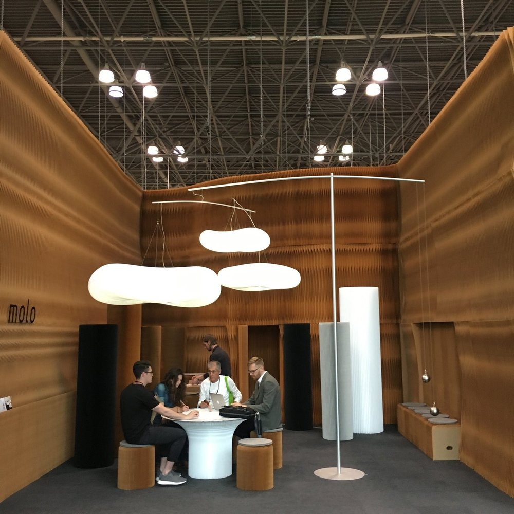 You can always count on  Molo  to lend an otherworldly look to the otherwise expected aesthetic of a trade show floor. The Canadian studio, led by Stephanie Forsythe, Todd MacAllen, and Robert Pasut, continues to push the possibilities with their core products while at the same time working hard to move forward into new realms.