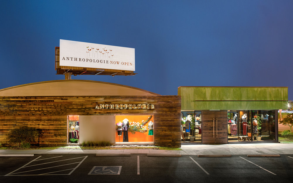 Adaptive reuse of an old roller rink now showcases Anthropologie in Knoxville