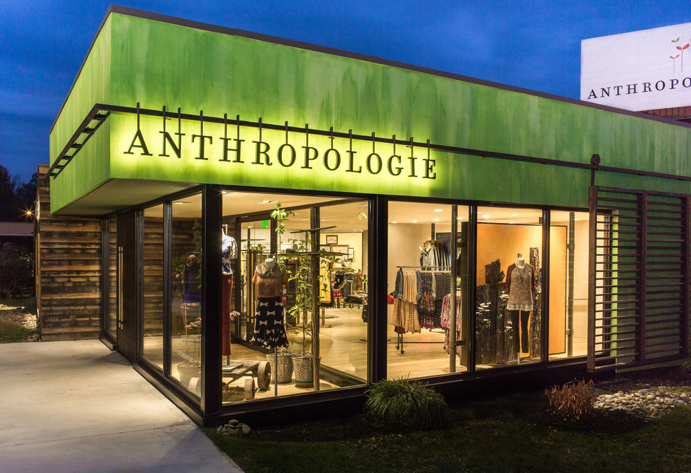 Exterior of the Anthropologie store in Knoxille, created in collaboration with NewStudio Architecture