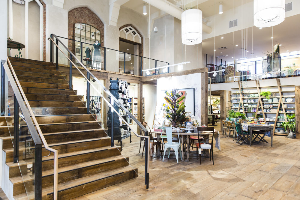 Spacious interior of Anthropologie in Toronto, created in collaboration with NewStudio Architecture