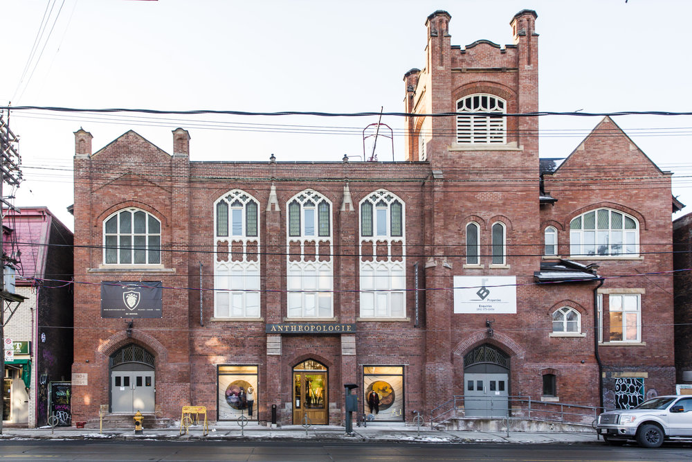 Exterior of Anthropologie in Toronto, created in collaboration with NewStudio Architecture