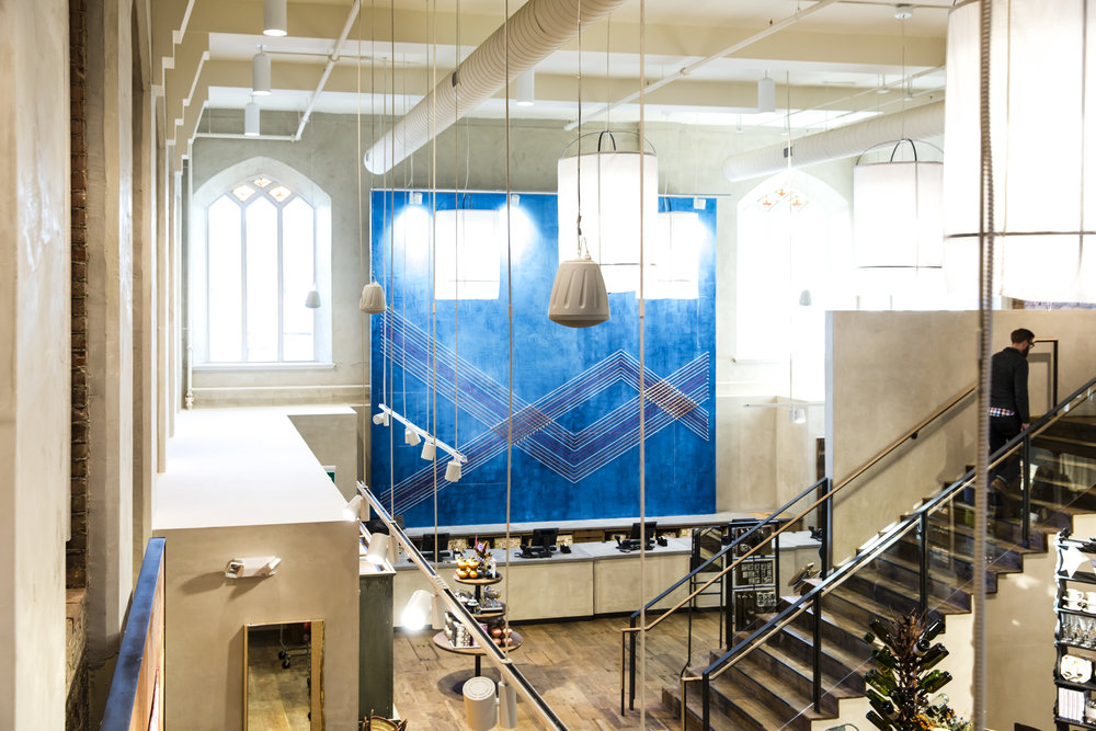 Respectful adaptive reuse of a church keeps the interior open and bright in the Anthropologie store in Toronto