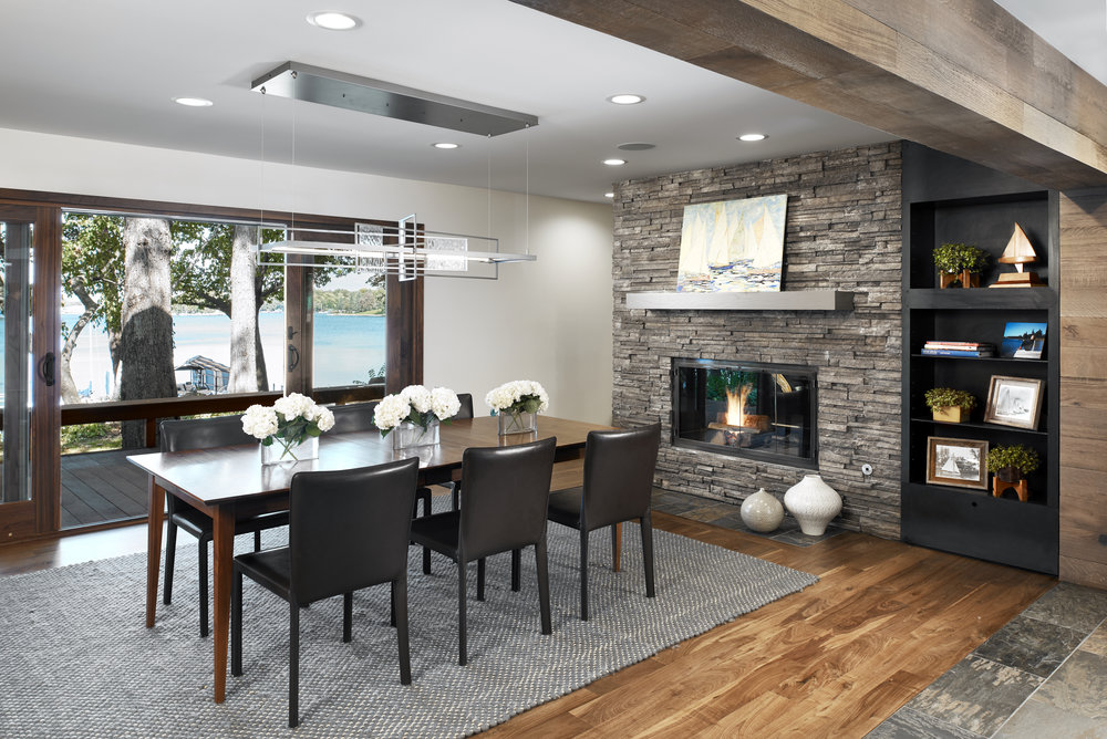 Lake Minnetonka view from dining room, designed by NewStudio Architecture