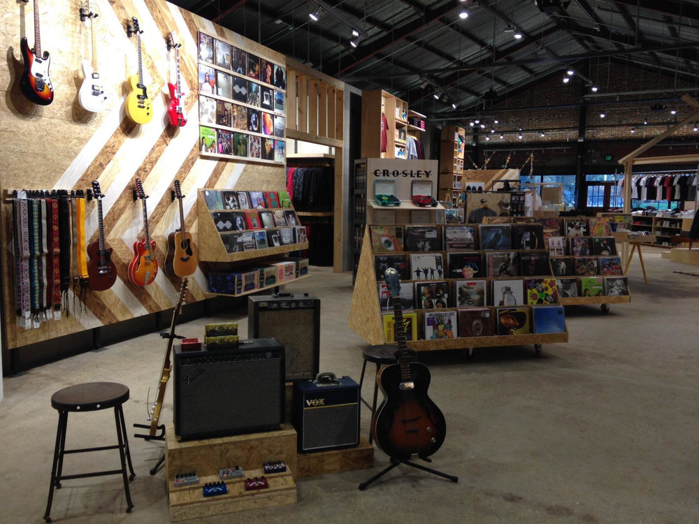 Guitar shop in Urban Outfitters in Tallahassee, designed with NewStudio Architecture