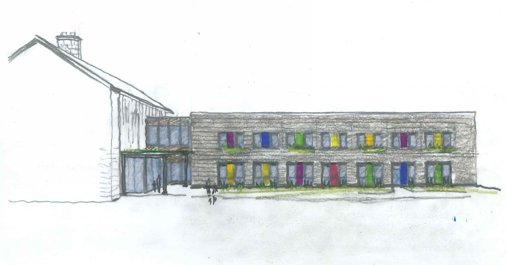Sideview of SCH Academy initial sketch by NewStudio Architecture