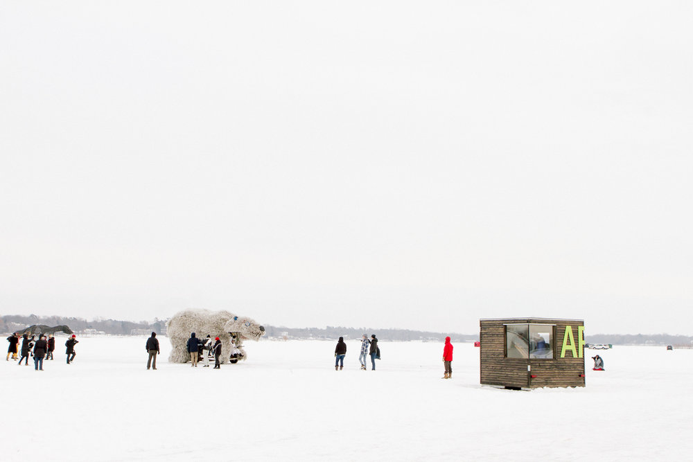 NewStudio Architecture's art shanty among other entries on frozen White Bear Lake