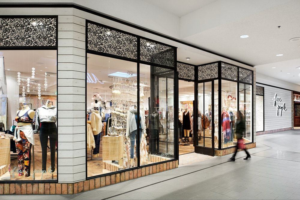 Exterior of Free People store inside Minnesota mall, created in collaboration with AOR NewStudio Architecture