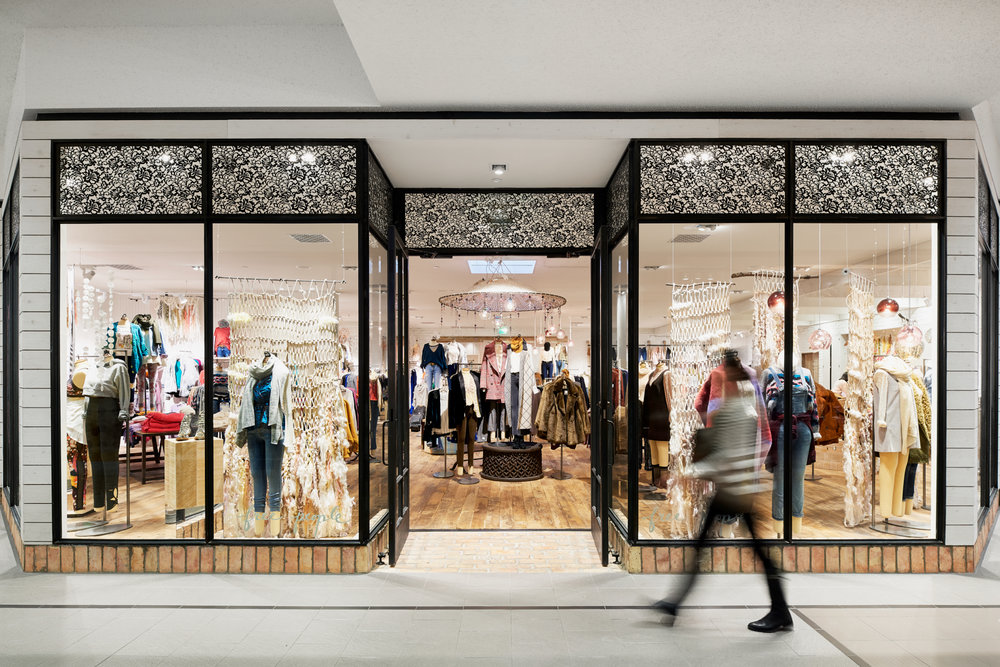 Entry at Free People in Edina, Minnesota, created in collaboration with AOR NewStudio Architecture