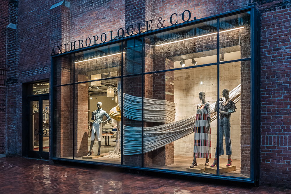 Anthropologie & Co. exterior display windows at Bedford Square
