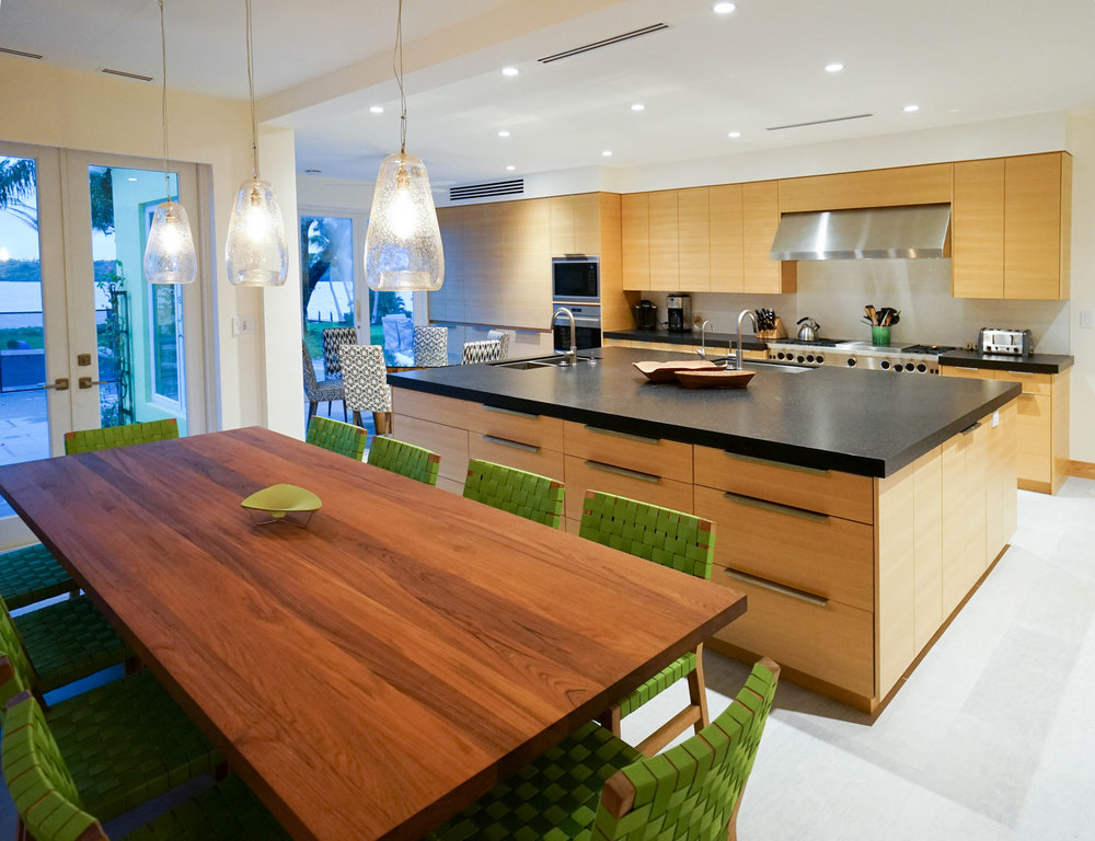 NewStudio Architecture designed spacious kitchen and informal dining area for large gatherings