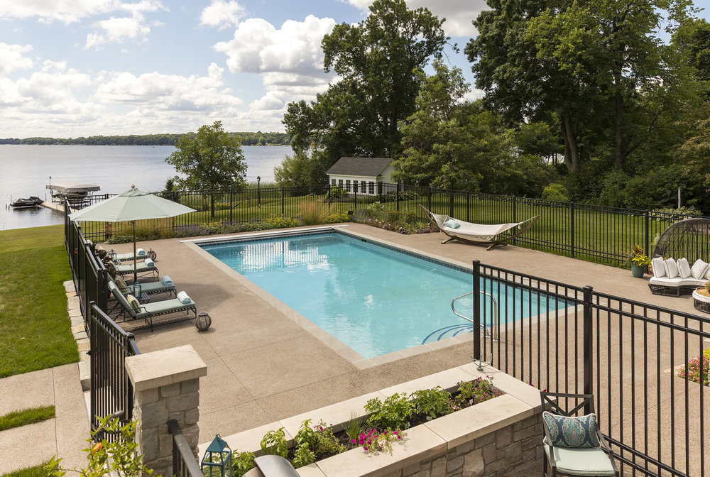 Pool area with lake view, designed by NewStudio Architecture