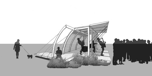 NewStudio's Wale Falade's rendering of a community structure can be used on land as a bandshell