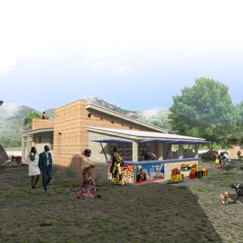 The exterior rendering of a home designed by NewStudio Architecture for Nigeria's urban poor