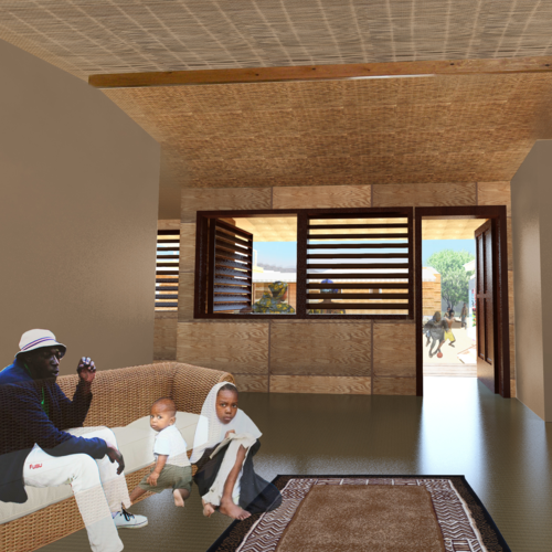 An interior rendering of a home design created by NewStudio Architecture for a charity contest