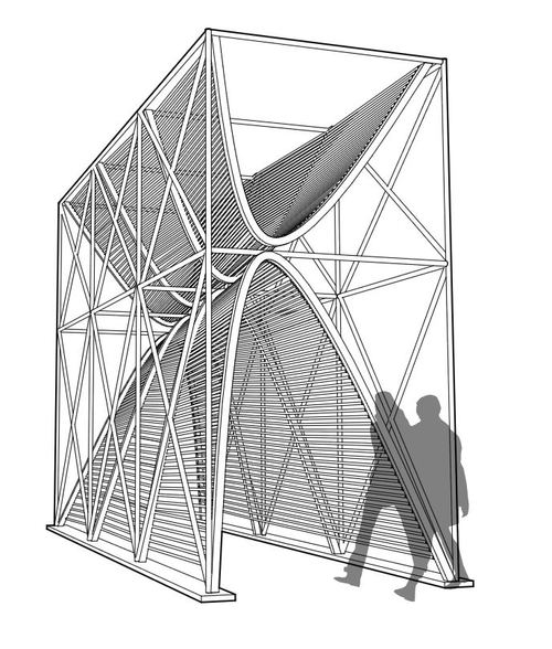 NewStudio Architecture's rendering of a temporary pavilion using scaffolding and ropes
