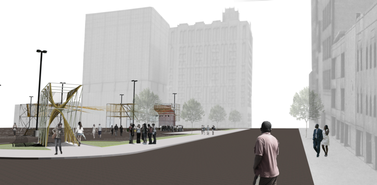 NewStudio Architecture's rendering of a temporary gathering space using scaffolding and ropes