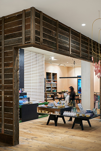 Plaster-and-lath design inside Anthropologie at Mall of America, created in collaboration with NewStudio Architecture