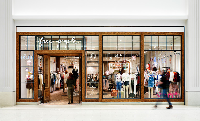 Exterior of Free People inside Mall of America, created in collaboration with NewStudio Architecture