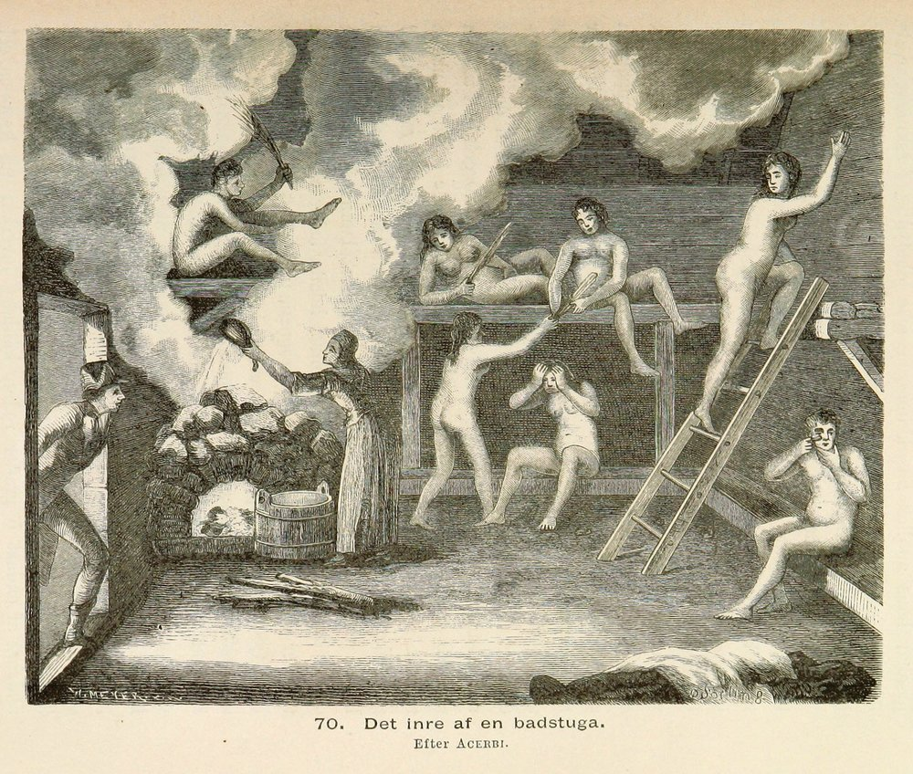 A 19th century engraving by Olof Sörling depicting bathers in a Finnish sauna, from volume 1 of Finland I Nordiska Museet by Artur Immanuel Hazelius.