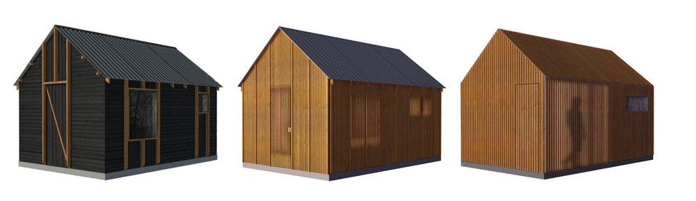 Schematic cladding options by NewStudio Architecture for a sauna in northern Wisconsin.