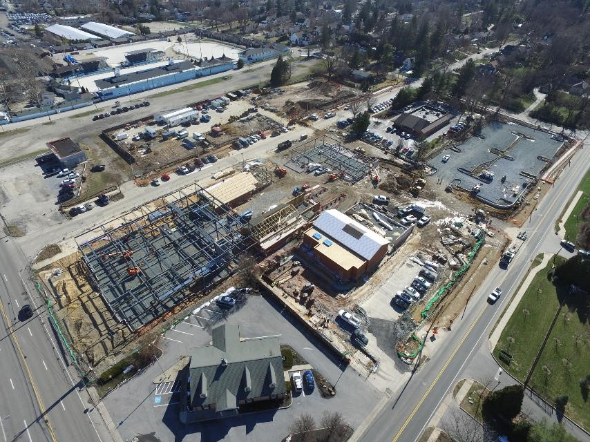 Aerial view of Devon Yard under construction. Image courtesy of Blue Rock Construction.