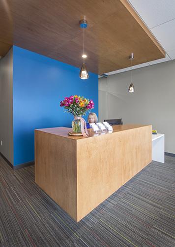 NewStudio Architecture interior design of reception area at Johnson Turner Legal offices