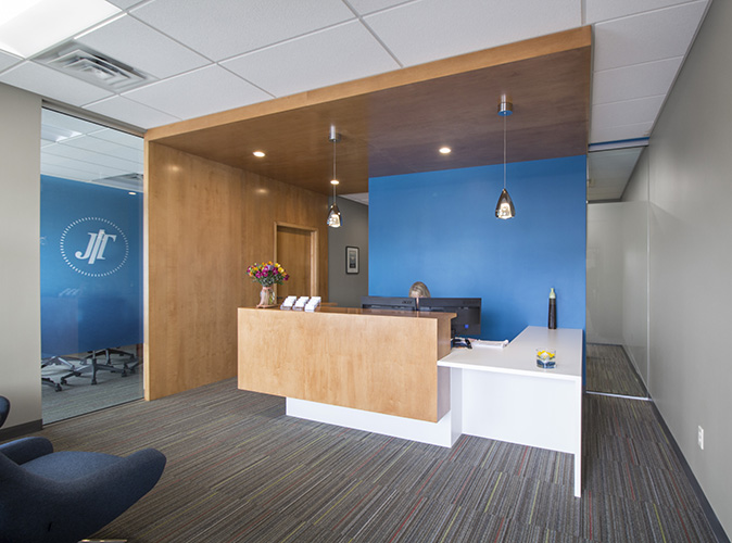 Strong geometric shapes define the interior design created by NewStudio Architecture for Johnson Turner Legal