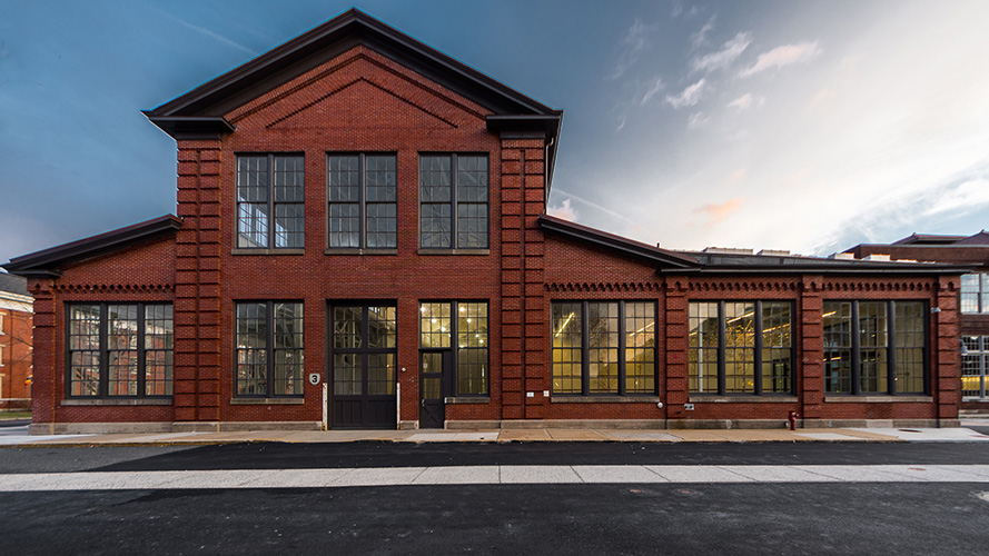 NewStudio Architecture retained the red brick exterior of the Philadelphia Navy Yard Building 3