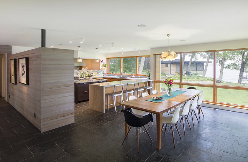 NewStudio Architecture designed the kitchen and dining room with lake views