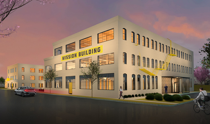 NewStudio Architecture rendering of The Mission building adaptive reuse project.
