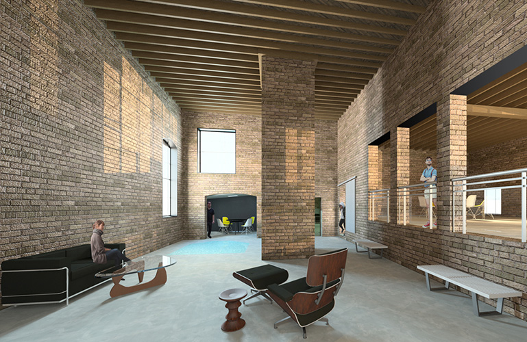 NewStudio Architecture's interior design rendering for The Mission building features reclaimed masonry work.