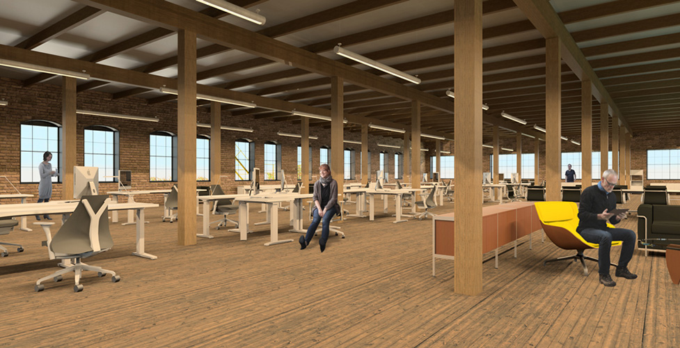 NewStudio Architecture envisioned collaborative workspaces in this rendering of The Mission building