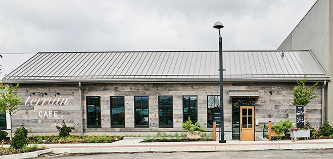 Exterior view of Terrain Cafe at Devon Yard.