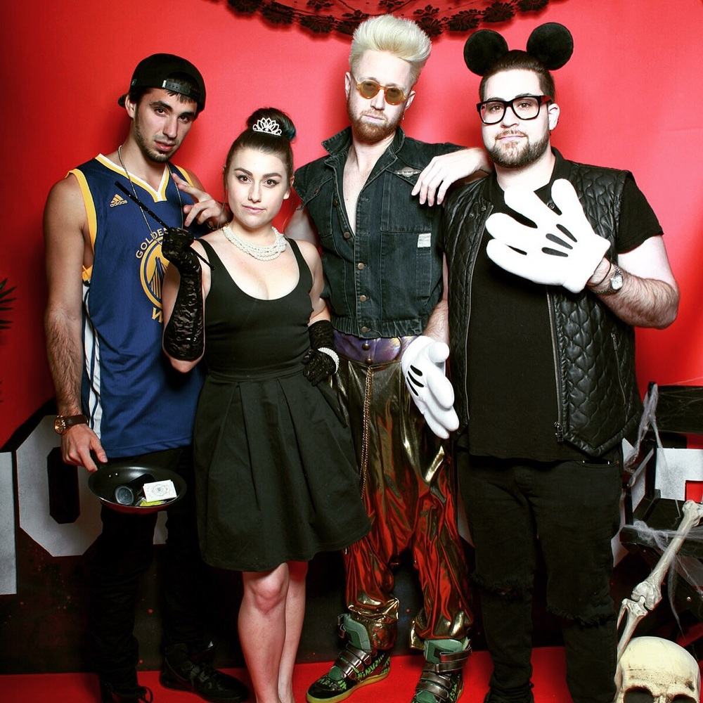 (LEFT TO RIGHT) An0maly, Jon Asher,  Melanie Fontana, Nick Jarjour attending Bonnie McKee's annual Halloween extravaganza in Hollywood on October 30, 2015z