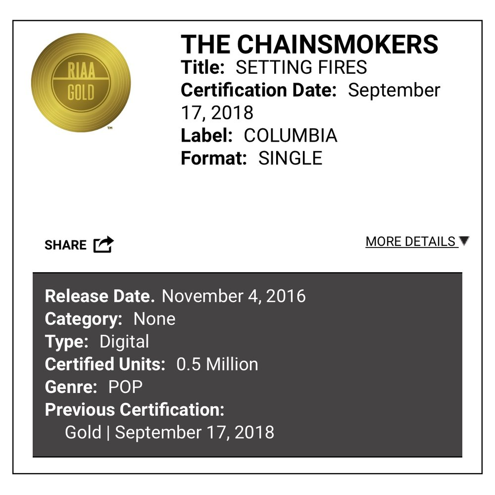 Setting Fires Certified Riaa Gold Jon Asher Artist Of The