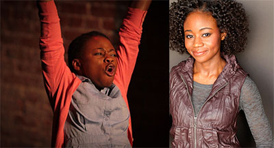 Liz Femi as an 8-year-old onstage, and as herself.