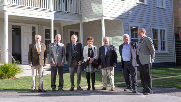 TOM LEE / FAIRFAX NZ Hamilton Club committee members, at the club's historic former premises in Grantham St, from left, David Mannering, Murray Day, Cliff Bindon, Judy Jones, Gordon Chesterman (president), Dennis Jones, and Mike Blake.
