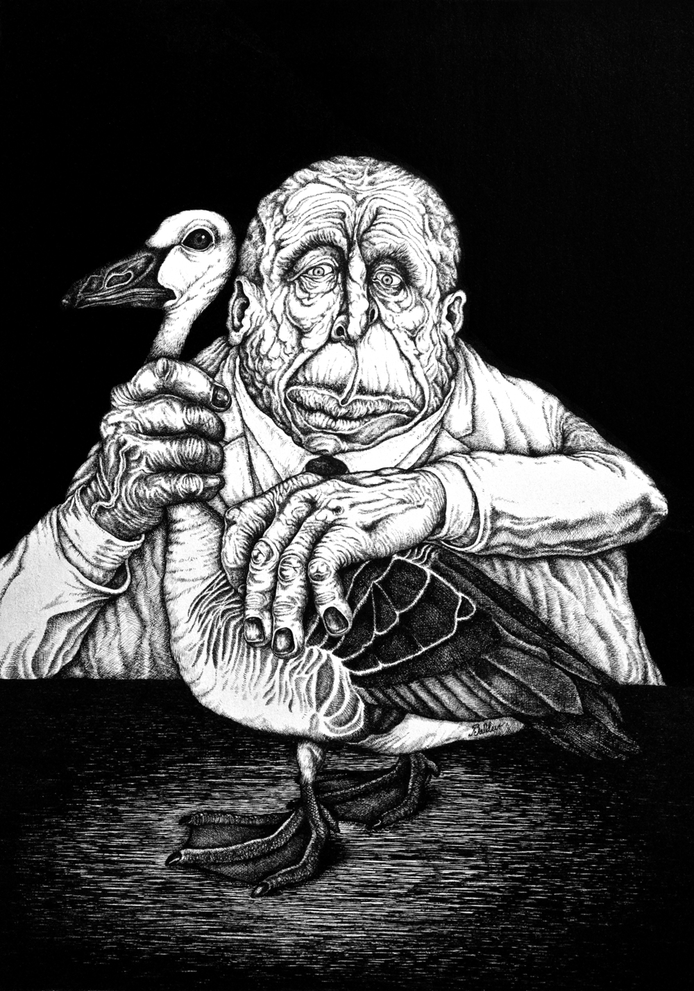 Portrait of a Man with His Goose  Pen & Ink on Paper, 14x17 2012