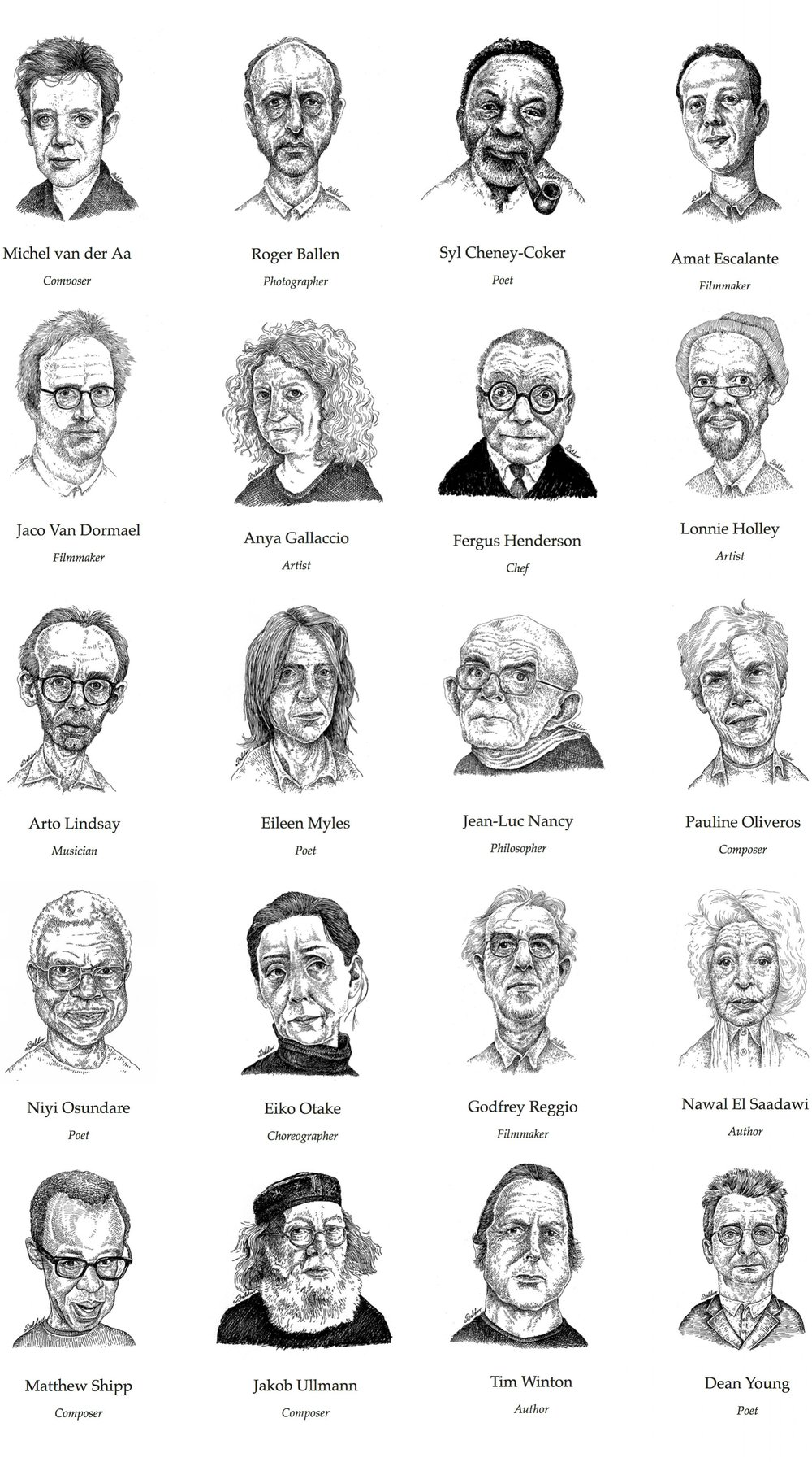 Portraits for Dialoguetalk.org, a digital encyclopedia and archive of the thoughts, ideas, and perspectives of extraordinary global figures from across the arts and humanities.