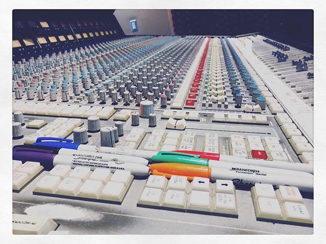 Black=Drums Blue=Guitars/Bass Green=Keyboards Red=Vocals Orange=Brass Purple=Strings @sharpie
