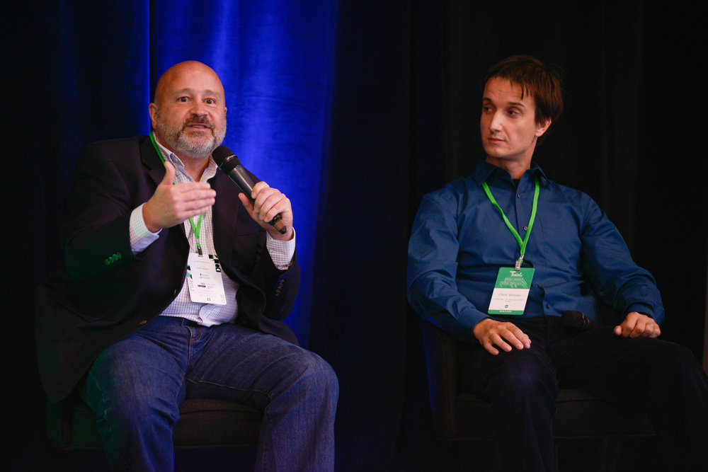Secure By Design? panelists Tom Marnik (L) and Chris Wilmer (R) discussing blockchain technology.