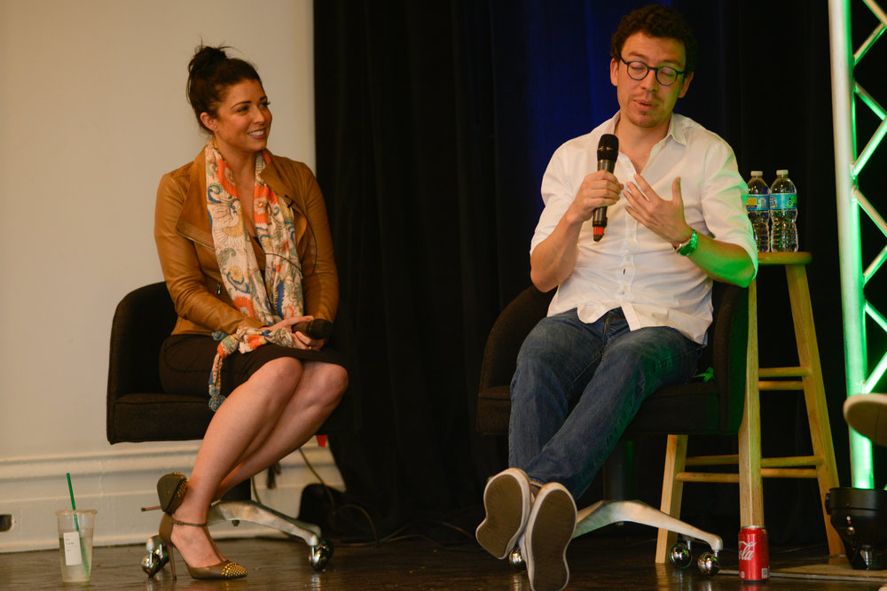 New Empire Makers panelists Elle Shelley (L) and Duolingo Co-Founder and CEO Luis von Ahn (R) talking about revitalizing Rust Belt cities.