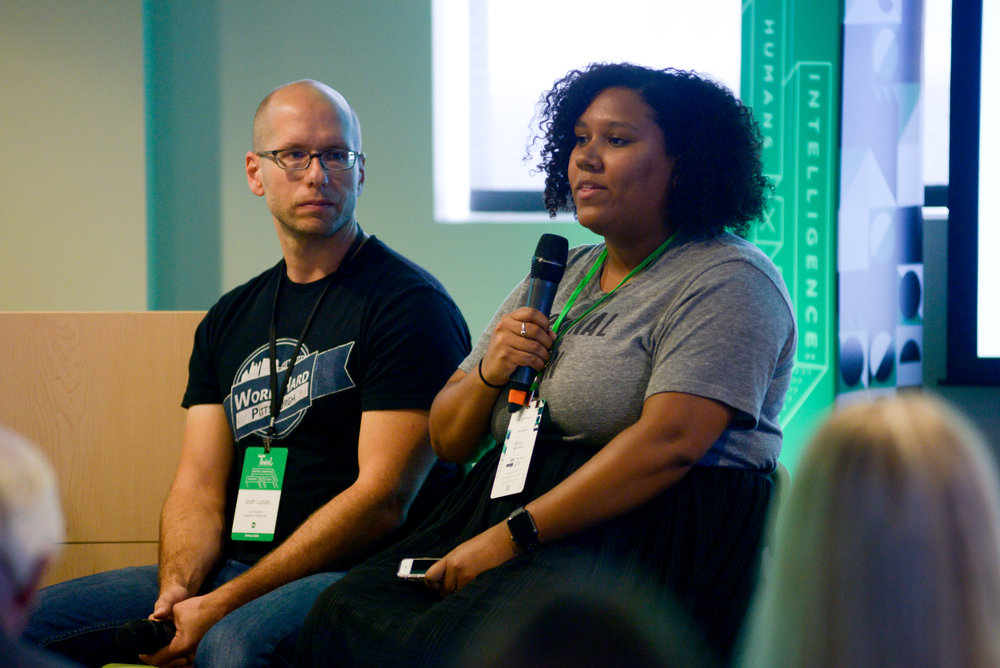 Jennifer Van Dam (R), Digital & Community Engagement Manager at Innovation Works, and Josh Lucas (L), Founder of Work Hard Pittsburgh, talking about diversity in tech culture.