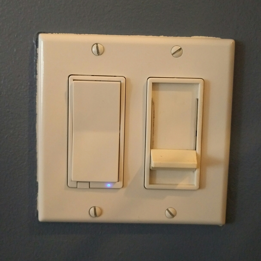 The switch on the left is internet enabled, but both of these dimmers work as you'd expect when you press them, regardless of connectivity. Excuse the paint job.